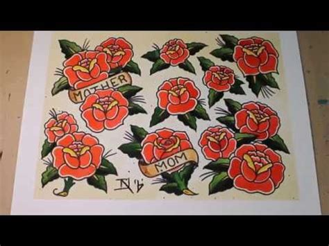 sailor jerry rose tattoo sailor jerry style roses flash painting