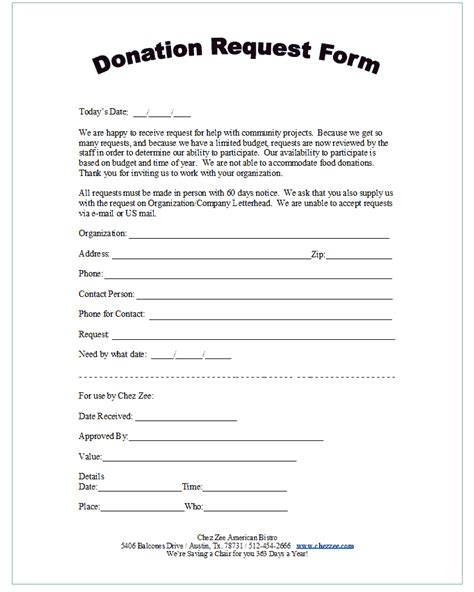 28 template for donation request form 8 charitable
