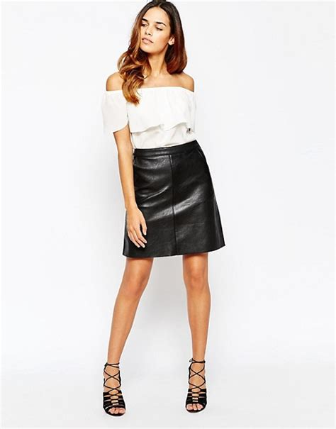 warehouse warehouse faux leather a line skirt
