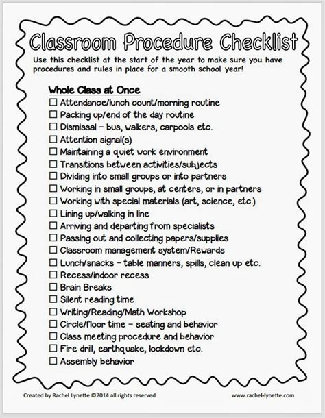 procedure list template classroom procedure tips and a free checklist minds in