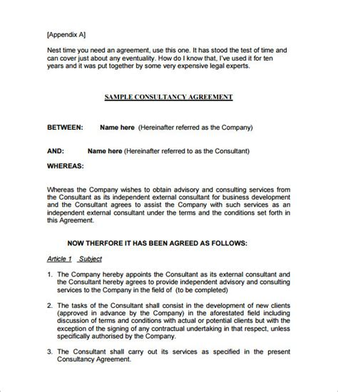 consulting agreement template uk templates resume
