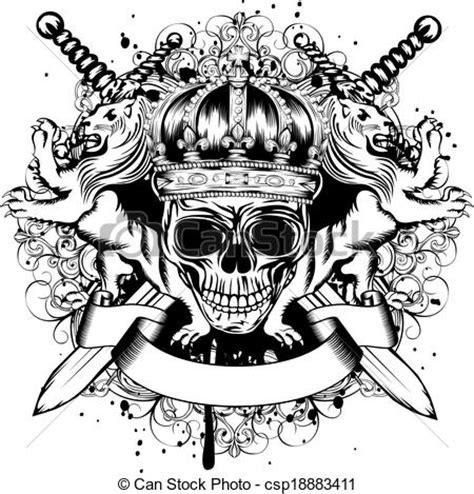 T Shirt Uma Samurai Y skull in crown lions and crossed swords vector