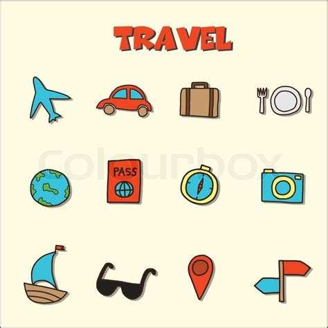 doodle icons free vector travel doodle icons stock vector colourbox