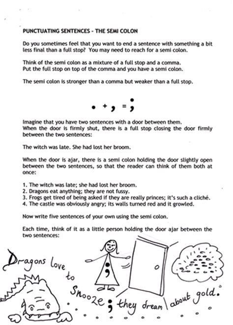 Semicolons Worksheet by Punctuation Semi Colons By Catherinepaver