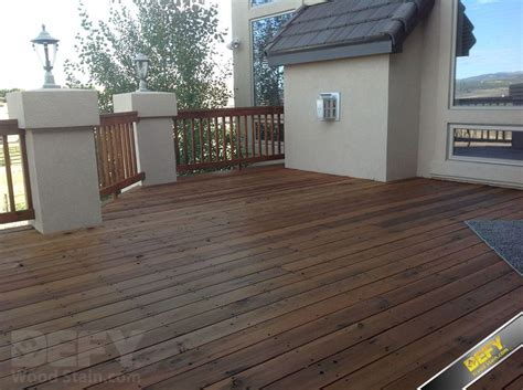 redwood deck  railing  defy extreme wood stain