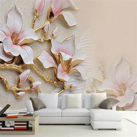 wallpaper for home decor 3d wallpaper hd embossed magnolia flowers photo mural