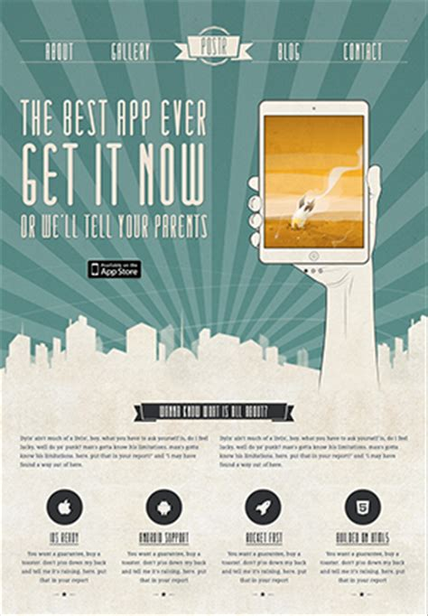 design poster app for ipad postr retro onepage creative poster psd template by