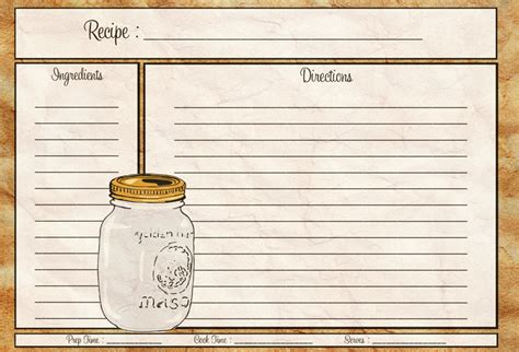 free printable recipe cards gifts jar mason jar recipe card 4x6 recipe card pdf download