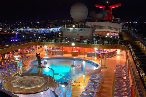 pool at night jim zim s carnival miracle cruise ship review