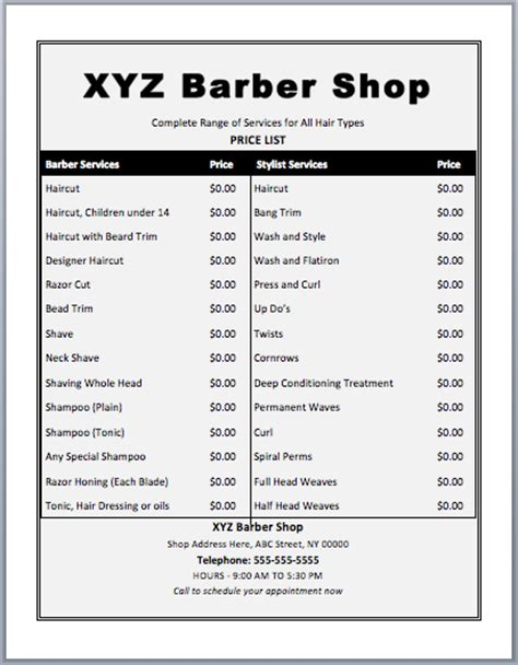barber shop price list template word templates