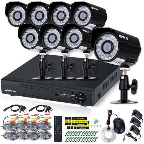 1 Set Cctv Outdoor kkmoon 16ch ahd dvr cctv system with 8pcs 720p 1200tvl ir