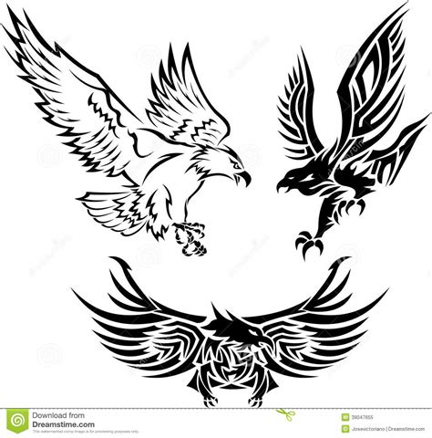 tribal eagle tattoos stock vector image 39047655