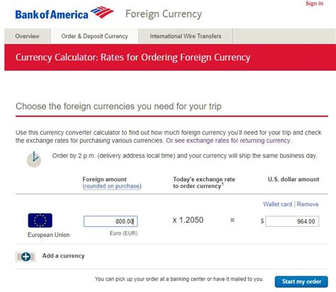 currency converter bank foreign currency exchange bank of america points