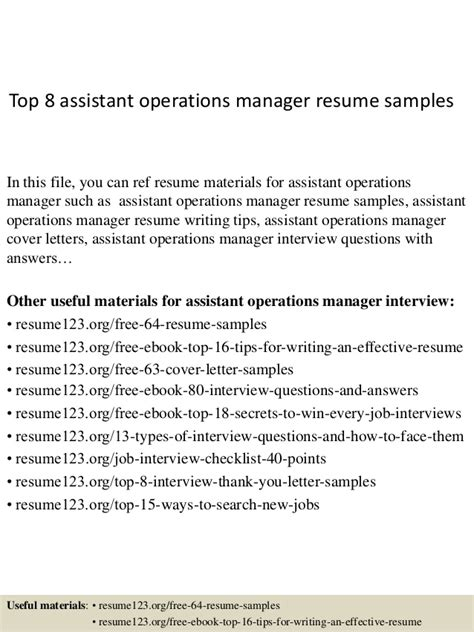 Assistant Operations Manager Sle Resume by Top 8 Assistant Operations Manager Resume Sles