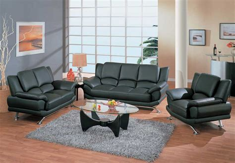 Living Room Furniture Sets Leather Contemporary Living Room Set In Black Or Cappuccino Leather San Jose California Gf9908