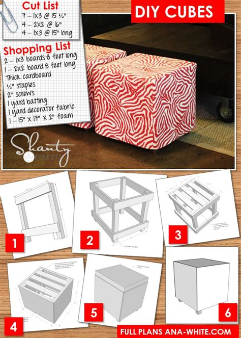 how to make an ottoman out of a table ana white upholstered cubes diy projects