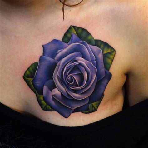 chest tattoo roses realistic purple on the left side of the chest