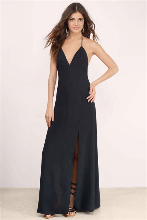 Slit Dress Maxi Dress Wanita Gitta Slit black maxi dress with slit dresses