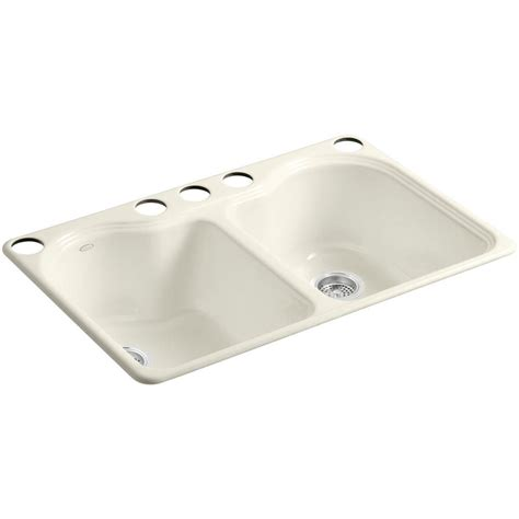 kohler lawnfield undermount cast iron 33 in 4 hole double