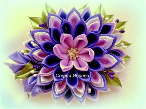 831 mejores im 225 genes de kanzashi flower en flor de cinta flores de cinta y flores