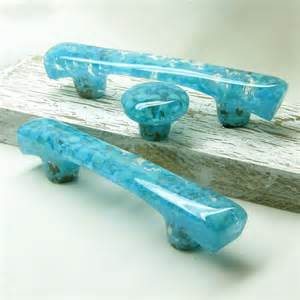 turquoise fused glass cabinet hardware knobs by torchlakeglass