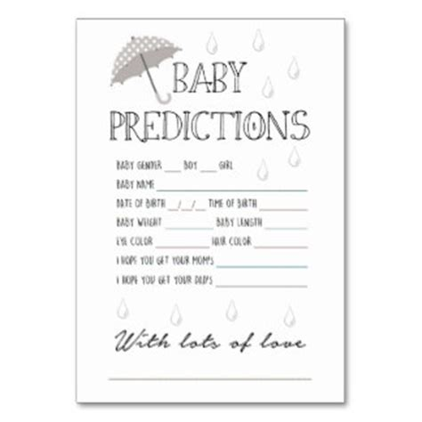 baby shower prediction cards template baby shower gender guessing gifts on zazzle