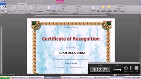 design a certificate using word making certificate using microsoft word 2010 youtube