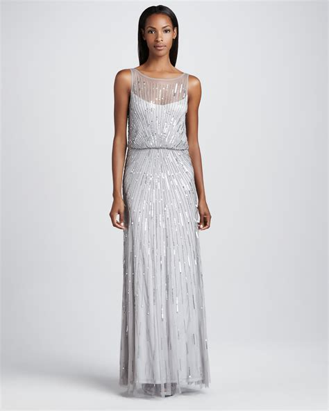 silver beaded gown aidan mattox beaded illusionneck gown in metallic lyst