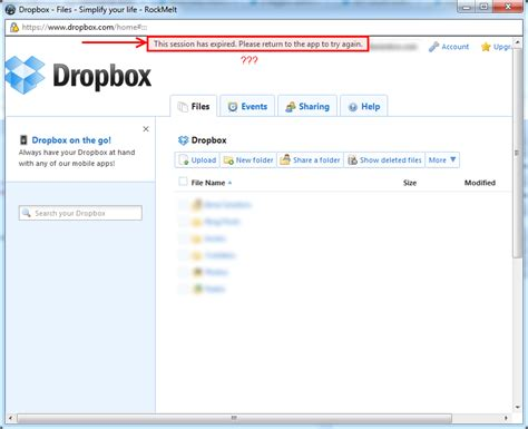 dropbox error authentication oauth and dropbox api stack overflow