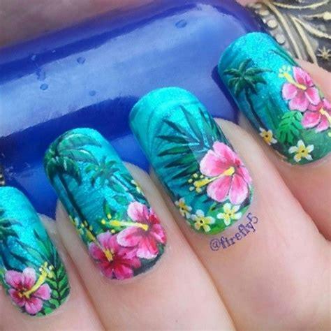 hibiscus nail art ideas  pinterest