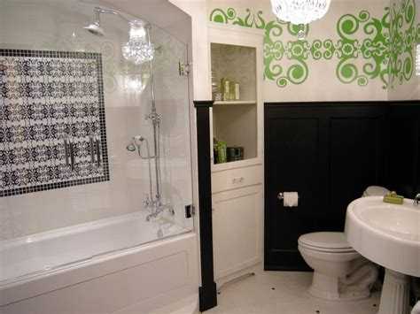 Storage In Bathroom Built In Bathroom Storage Black And White Bathroom With Green Wall Mural And Glass Shower