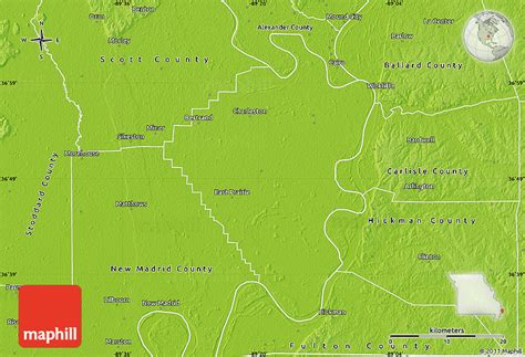 physical map of missouri physical map of mississippi county