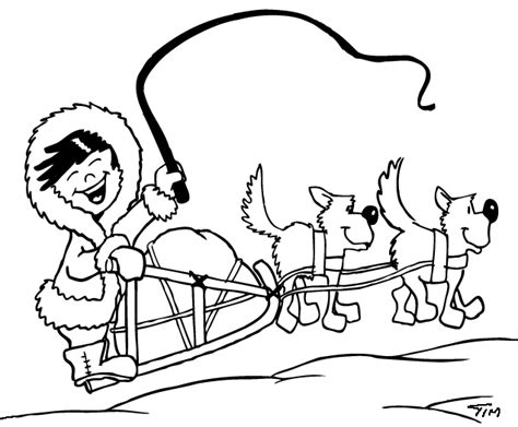 dog team coloring page sled dogs clipart 40