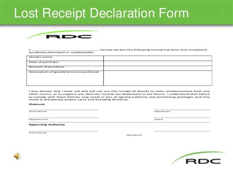 Duplicate Receipt Template by Travel Policy Slide Show Nov17