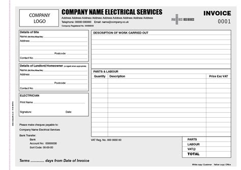 electrical company receipts template electrical invoice template pdf hardhost info