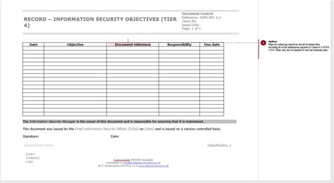 Iso 27001 How To Set And Document Your Information Security Objectives It Governance Blog Information Security Program Template