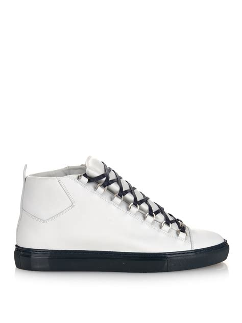 balenciaga arena sneakers balenciaga arena leather high top sneakers in white for