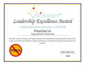 custom certificates leadership excellence award