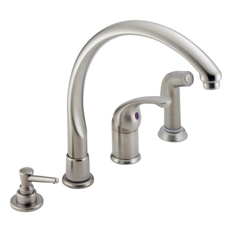 shop delta waterfall stainless 1 handle high arc deck mount kitchen faucet at lowes com