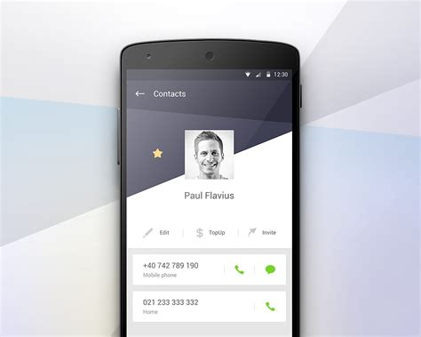 user profile layout in android contact profile screen materialup