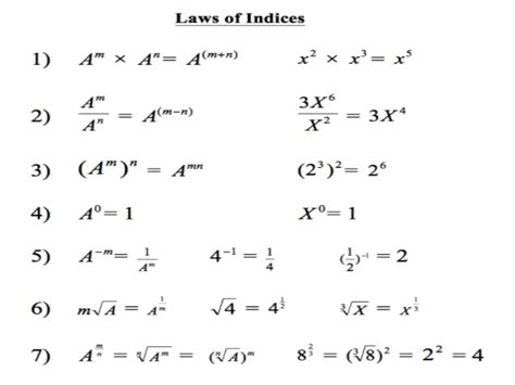 tutorial questions on indices index laws ppt