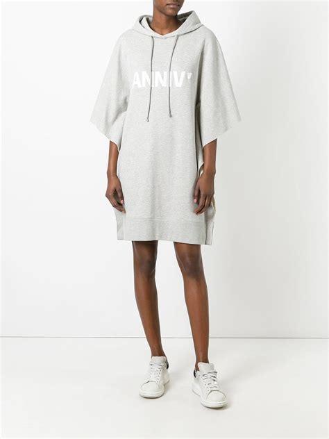 Dress Maxi Dress Dress Muslim Umbrella Hoodie Zipper lyst mm6 by maison martin margiela anniv oversized hoodie dress in gray