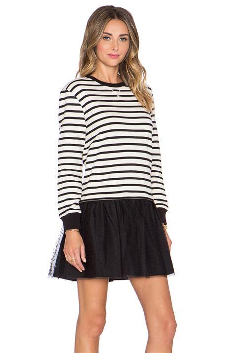 Kemeja Sweater Black White lyst valentino striped sweater dress in black