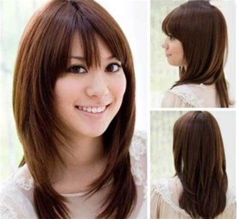 hairstyles for round face with bangs 15 thick medium length hairstyles hairstyles haircuts