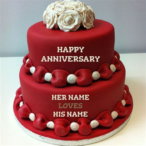 Wedding Anniversary Wishes Name Editing by Write Name On Happy Anniversary Cakes Free Wishes