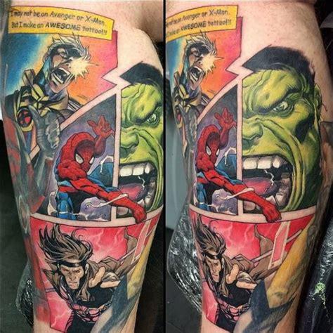 comic book sleeve tattoo designs 31 amazing marvel tattoos neatorama