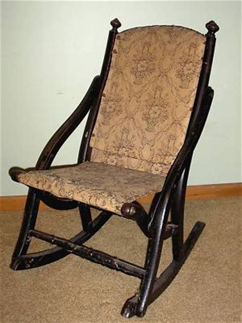 antique folding rocker rocking caign chair