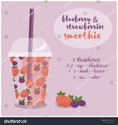 Vector Illustration Blueberry Strawberries Smoothie Recipe Stock Vector 446904826 Shutterstock Smoothie Website Template