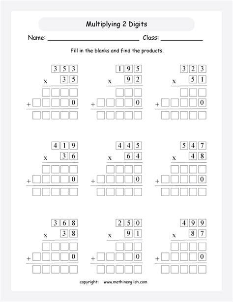 Multiplication Boxes Worksheets by Box Multiplication Worksheets Grid Method