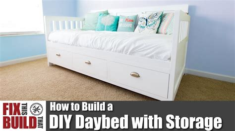 diy daybed  storage drawers   woodworking